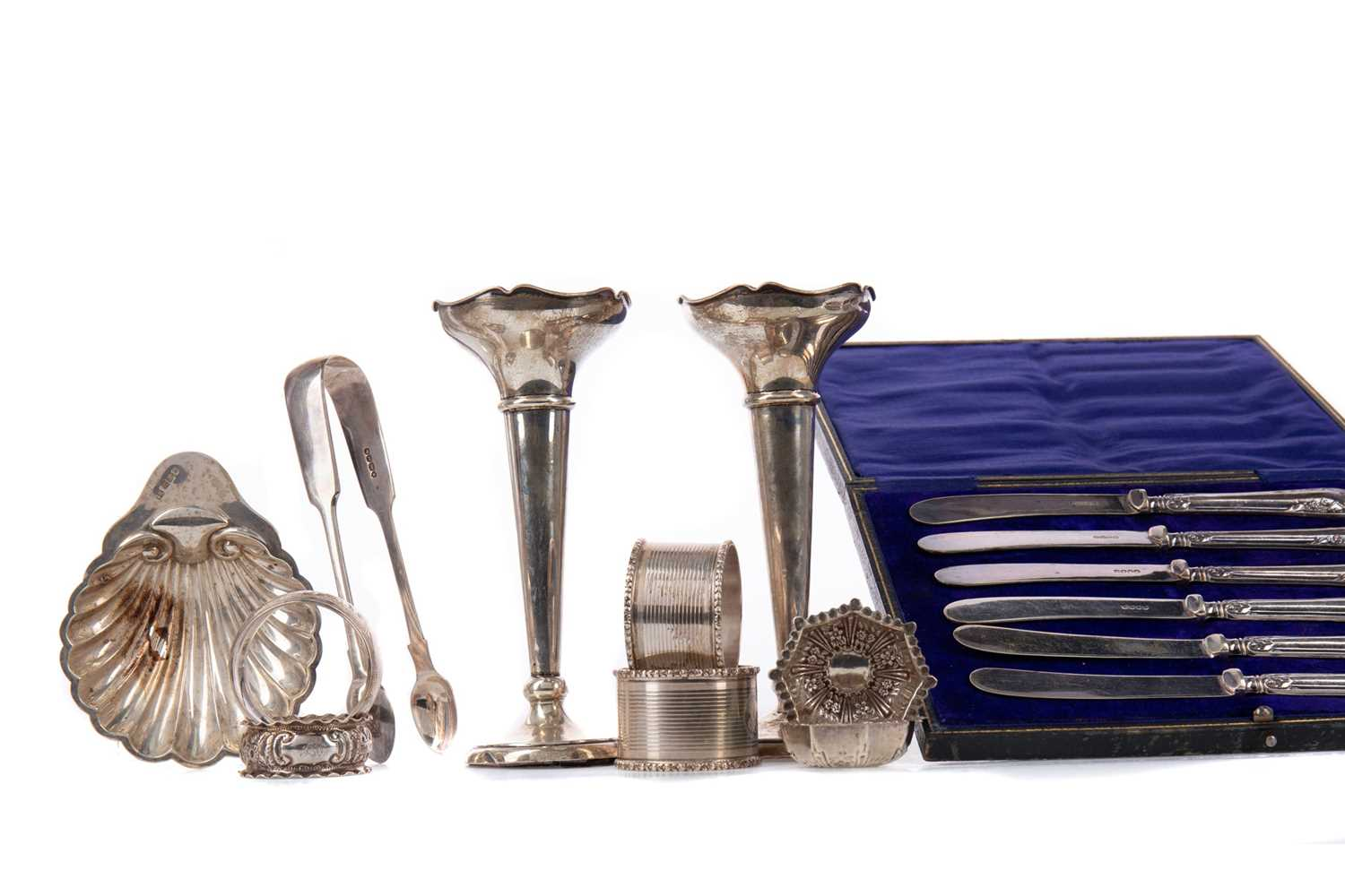 Lot 432 - A PAIR OF GEORGE V SILVER SOLIFLEUR VASES ALONG WITH OTHER SILVER WARE