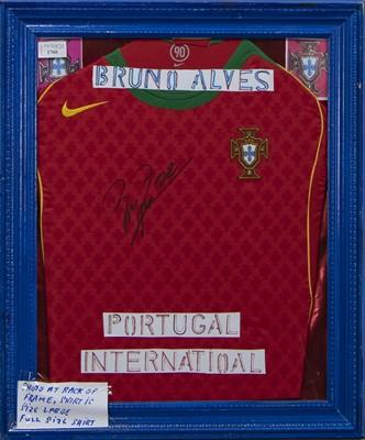 Lot 1760 - A BRUNO ALVES SIGNED PORTUGAL INTERNATIONAL FOOTBALL JERSEY