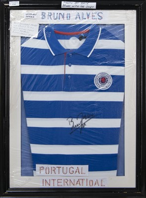 Lot 1763 - A BRUNO ALVES SIGNED RANGERS F.C. POLO TOP