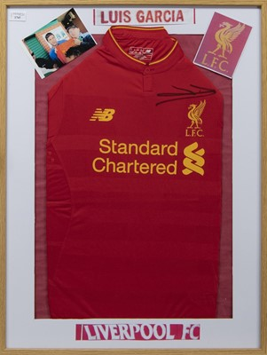 Lot 1765 - A LUIS GARCIA SIGNED LIVERPOOL F.C. JERSEY