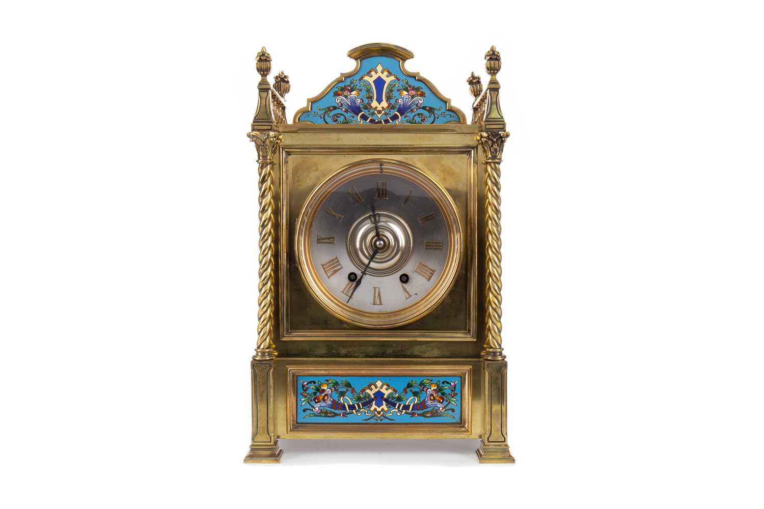 Lot A LATE 19TH CENTURY BRASS AND CLOISONNÉ MANTEL CLOCK