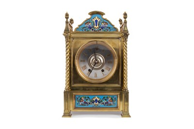 Lot 1170 - A LATE 19TH CENTURY BRASS AND CLOISONNÉ MANTEL CLOCK
