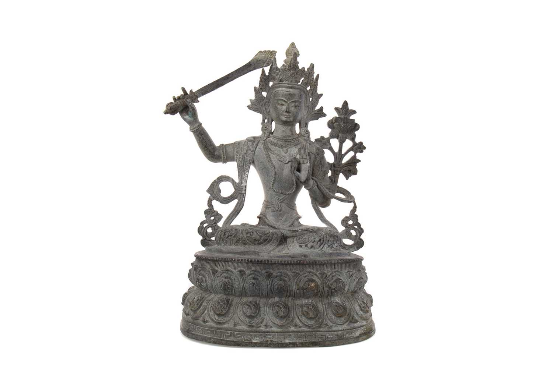 Lot 1626 - A CHINESE/THAI BRONZED METAL DEITY