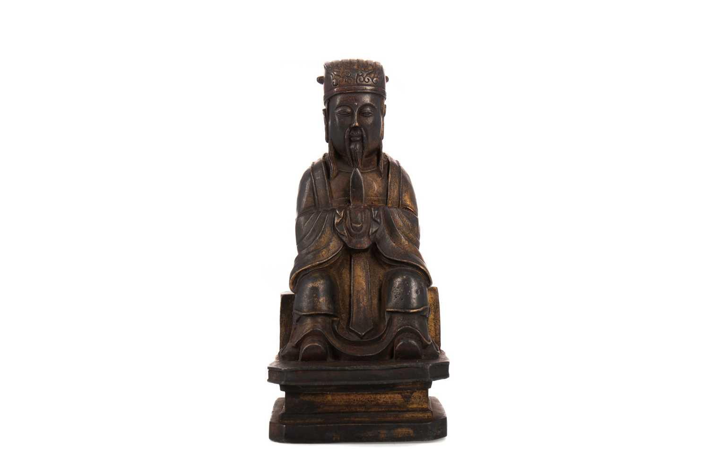 Lot 1636 - A 20TH CENTURY CHINESE BRONZE SAGE/SCHOLAR