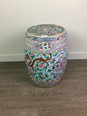 Lot 1632 - A CHINESE BARREL FORM FAMILE ROSE GARDEN SEAT