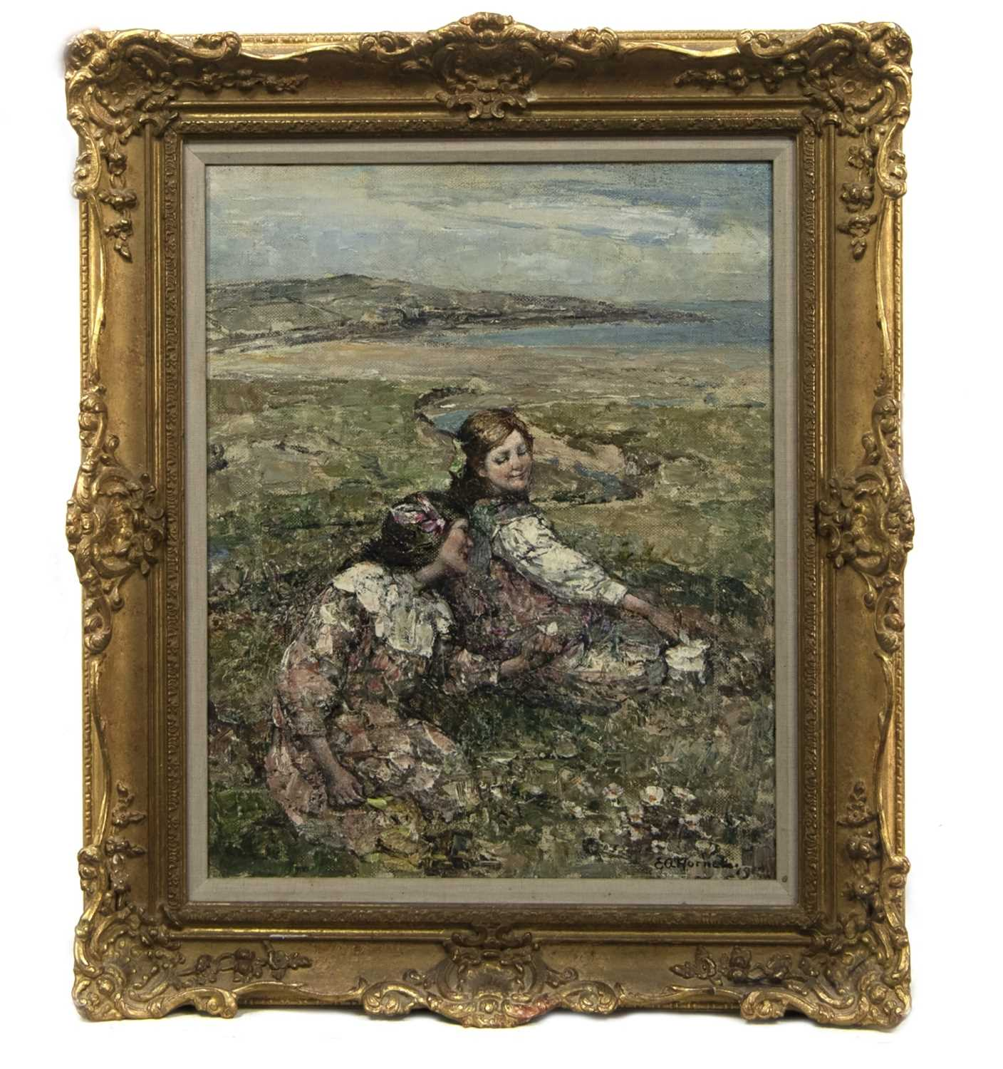 Lot 2025 - HAPPY HOWLS, AN OIL BY EDWARD ATKINSON HORNEL