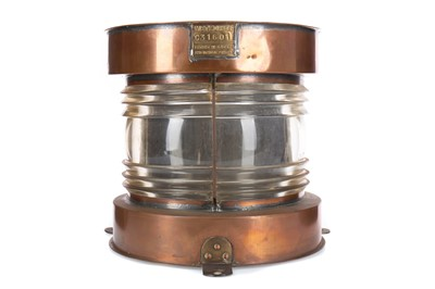 Lot 1172 - AN EARLY 20TH CENTURY SHIPS COPPER MASTHEAD LAMP