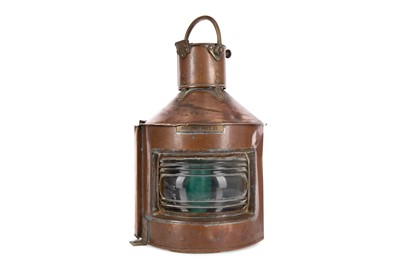 Lot 1174 - A PAIR OF EARLY 20TH CENTURY COPPER SHIPS LANTERNS
