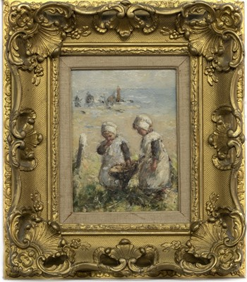 Lot 2015 - THE WEE FISHER LASSIES, AN OIL BY ROBERT GEMMELL HUTCHISON