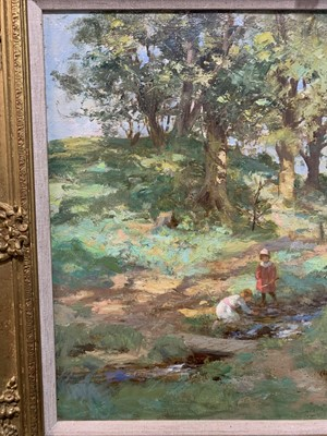 Lot 2021 - SPRING BY THE BUCKLAND BURN, AN OIL BY WILLIAM STEWART MACGEORGE