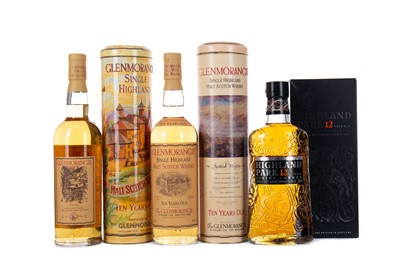 Lot 5 - TWO BOTTLES OF GLENMORANGIE 10 YEARS OLD AND ONE HIGHLAND PARK 12 YEARS OLD