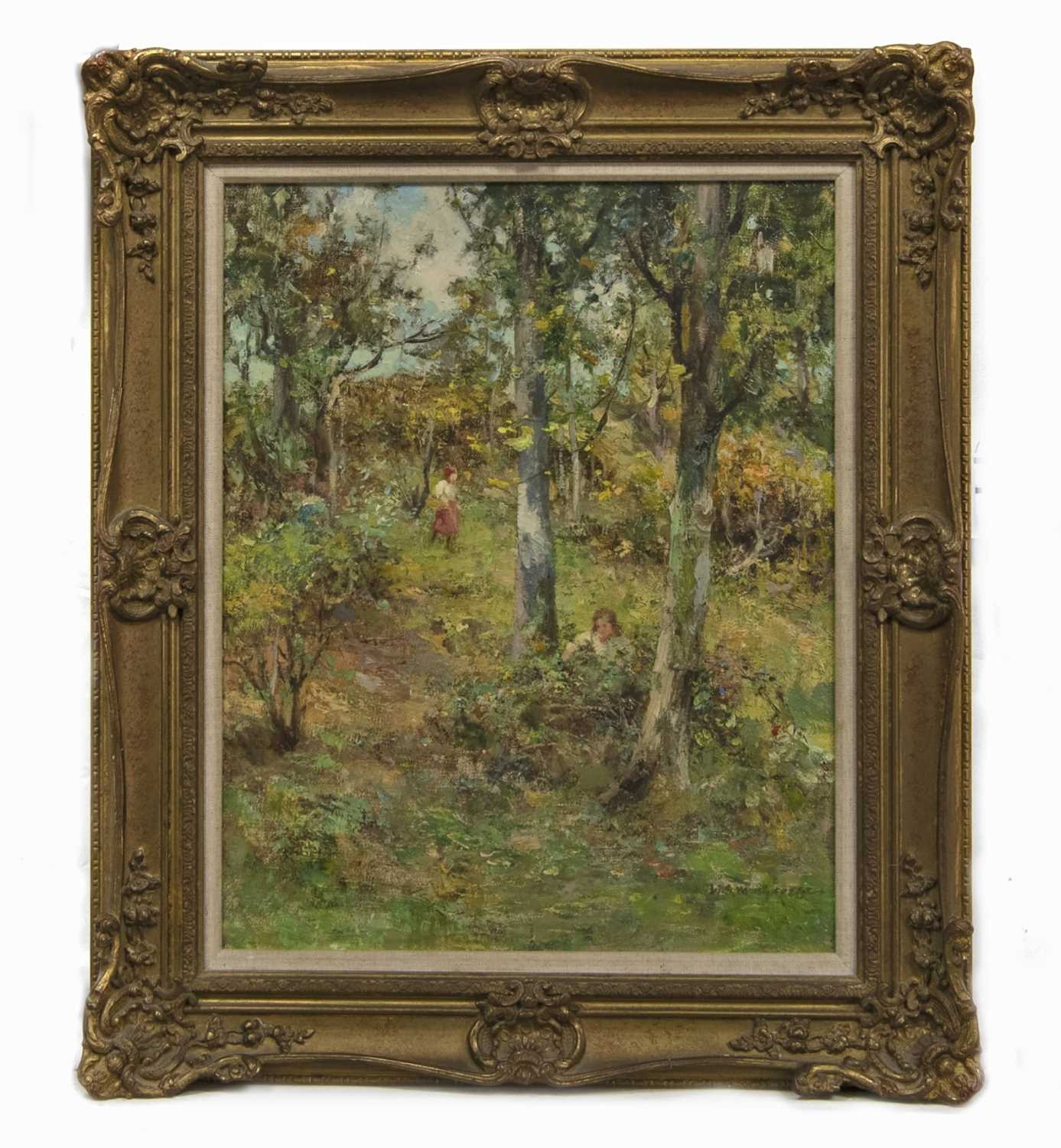 Lot 2022 - GATHERING BRAMBLES, AN OIL BY WILLIAM STEWART MACGEORGE