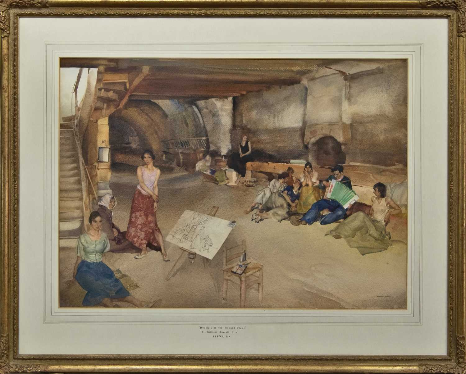 Lot 178 - DWELLERS ON THE GROUND FLOOR, A WATERCOLOUR BY SIR WILLIAM RUSSELL FLINT