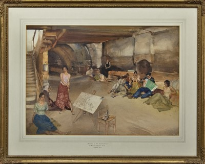Lot 2024 - DWELLERS ON THE GROUND FLOOR, A WATERCOLOUR BY SIR WILLIAM RUSSELL FLINT