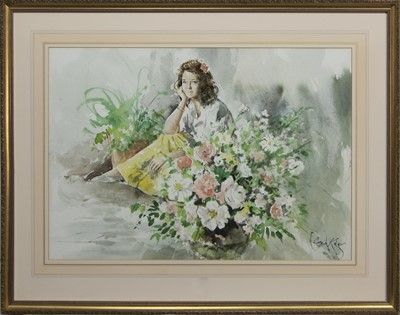 Lot 522 - YOUNG GIRL WITH FLOWERS, A WATERCOLOUR BY GORDON KING