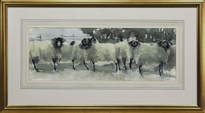 Lot 526 - THE FLOCK, A WATERCOLOUR BY MARY ANN ROGERS