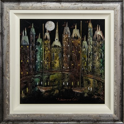Lot 529 - MOONLIT HARBOUR, A MIXED MEDIA BY ROZANNE BELL
