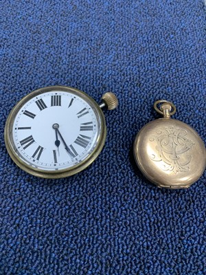 Lot 18A - A VICTORIAN  POCKET WATCH BY WALTHAM IN A GOLD PLATED CASE AND A TRAVELLING TIMEPIECE
