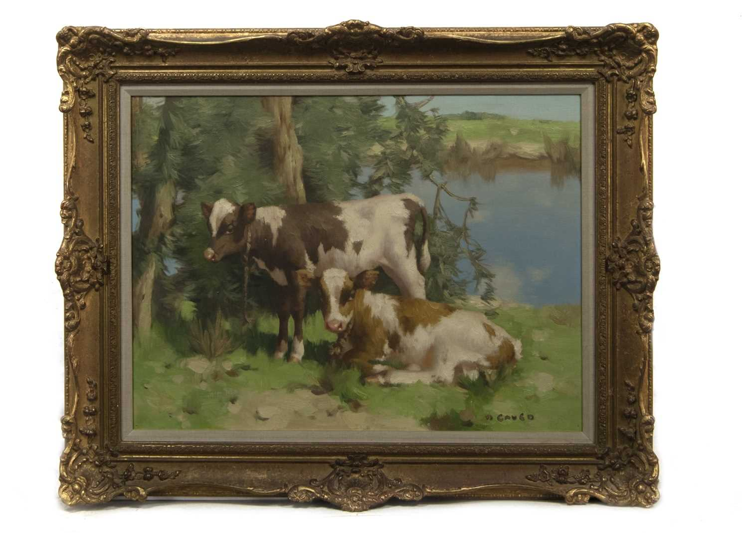 Lot 2001 - A CORNER OF THE SOLWAY, AN OIL BY DAVID GAULD