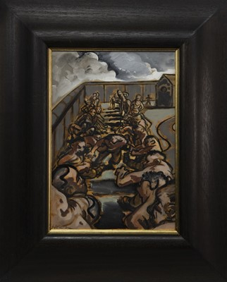 Lot 531 - IN THE ARMY, AN OIL BY PETER HOWSON