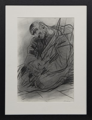 """Lot 533 - STUDY FOR """"THE PENITENCE OF KING DAVID"""" NO. 4, A CHARCOAL BY PETER HOWSON"""