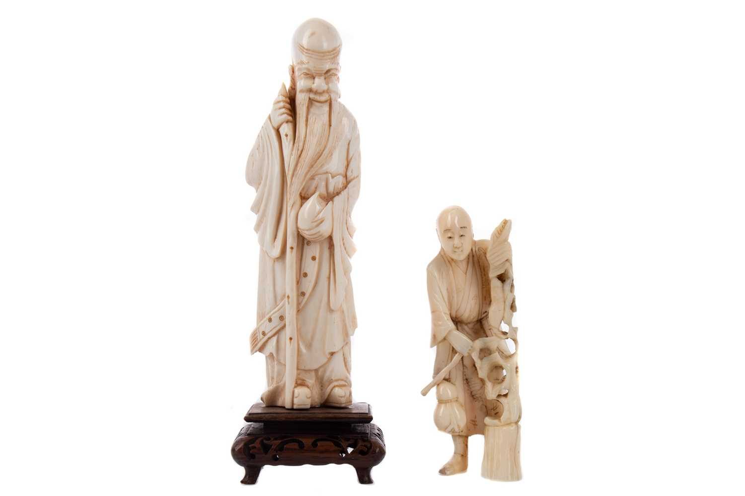 Lot 1641 - AN EARLY 20TH CENTURY CHINESE IVORY CARVING OF SHOU LAO AND ANOTHER CARVING