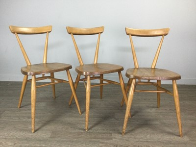 Lot 1390 - A SET OF ERCOL SIX BLOND BEECH AND ELM SINGLE CHAIRS