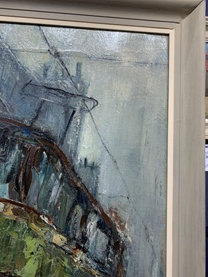 Lot 2030 - TRAM & FIGURES IN RAIN, BYRES ROAD, AN EXCEPTIONAL AND LARGE OIL BY HERBERT WHONE