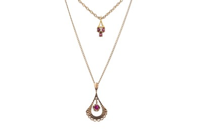 Lot 832 - TWO GEM SET PENDANTS AND A GOLD WEDDING BAND
