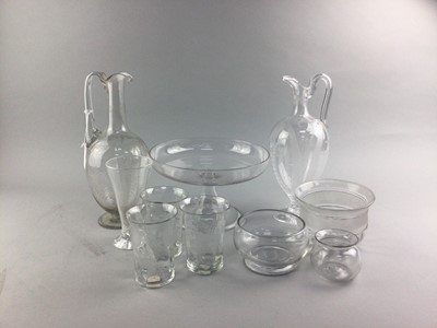Lot 36 - A VICTORIAN GLASS TAZZA AND OTHER GLASSWARE