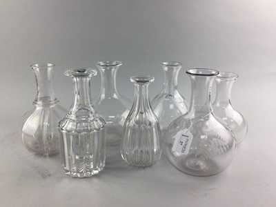 Lot 27 - A COLLECTION OF SEVEN VICTORIAN AND LATER GLASS CARAFES