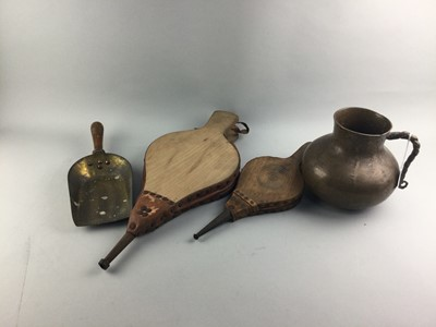 Lot 30 - A BRONZE VESSEL AND TWO FIRE BELLOWS