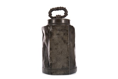 Lot 1397 - A 17TH CENTURY CONTINENTAL PEWTER CANISTER AND COVER