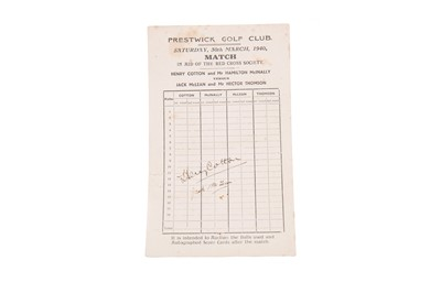 Lot 1742 - A PRESTWICK GOLF CLUB SCORE CARD SIGNED BY HENRY COTTON