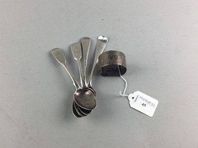 Lot 45 - A LOT OF SILVER FLATWARE ALONG WITH A NAPKIN RING