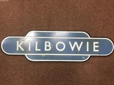Lot 1408 - A KILBOWIE ENAMELLED METAL RAILWAY TOTEM