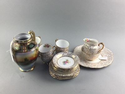 Lot 19 - A CAVOUR WARE STAFFORDSHIRE PART TEA SERVICE ALONG WITH A NORITAKE VASE