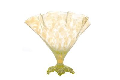 Lot 1023 - A JOHN WALSH WALSH URANIUM GLASS 'FAN' VASE