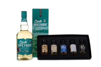 Lot 97 - AD RATTRAY CASK SPEYSIDE AGED 10 YEARS, AND AD RATTRAY MINIATURE SET