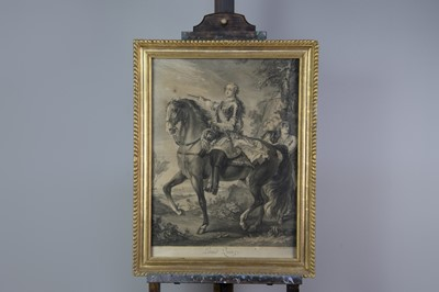 Lot 999 - A 18TH CENTURY LINE ENGRAVING OF LOUIS QUINZE