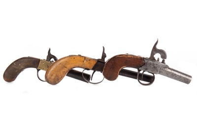 Lot 1409 - A 19TH CENTURY POCKET PERCUSSION PISTOL AND TWO OTHERS
