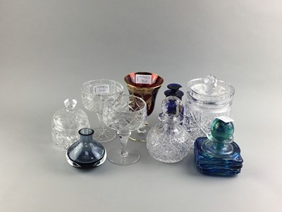 Lot 66 - A MDINA GLASS VASE AND OTHER GLASS OBJECTS