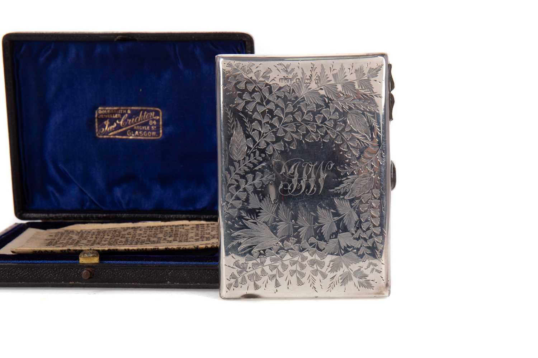 Lot 443 - AN EDWARDIAN SILVER CARD CASE
