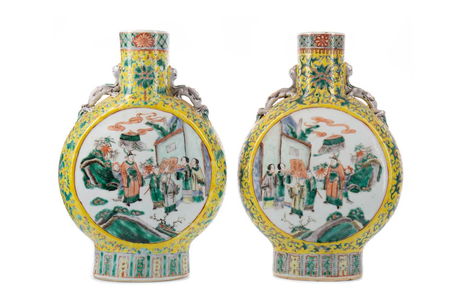Lot 1648 - A PAIR OF 19TH CETURY CHINESE FAMILLE JAUNE MOON FLASK VASES