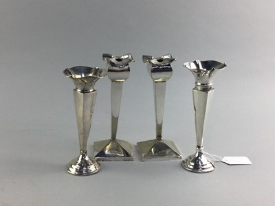 Lot 76 - A PAIR OF SILVER SOLIFLEUR VASES AND A PAIR OF CANDLESTICKS