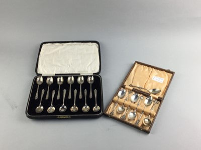 Lot 77 - A SET OF TWELVE SILVER COFFEE SPOONS AND ANOTHER CASED SET OF SPOONS