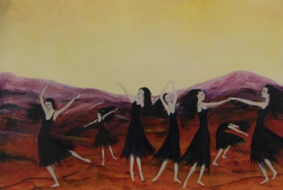 Lot 510 - WITCHES DANCE, AN OIL BY ERICKA KINNEAR