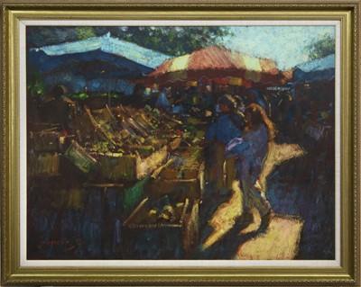 Lot 597 - THE MARKET, A LA CROIX VALMER, AN OIL BY JOHN MACKIE