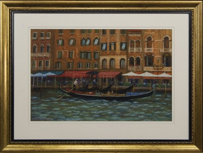 Lot 585 - CANAL SCENE, A PASTEL BY JOHN MACKIE