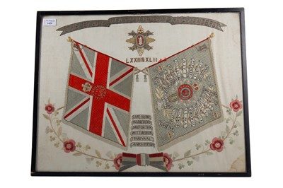 Lot 1420 - AN EARLY 20TH CENTURY 'THE BLACK WATCH (ROYAL) HIGHLANDERS EMBROIDERY